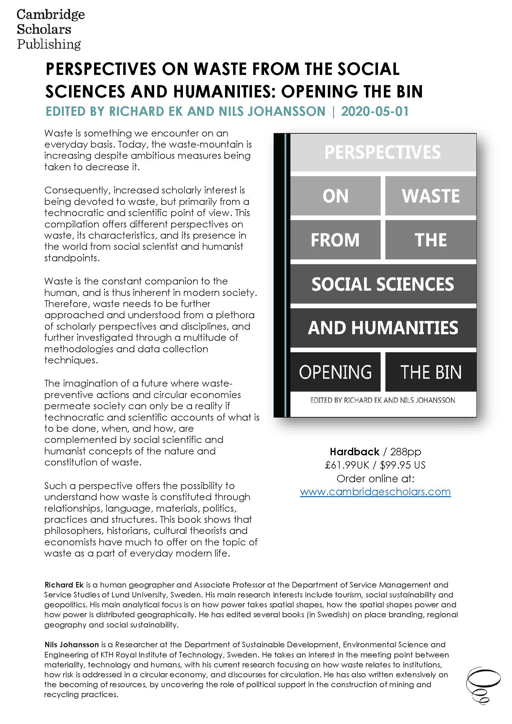 Perspectives on Waste from the Social Sciences and Humanities Opening the Bin AI